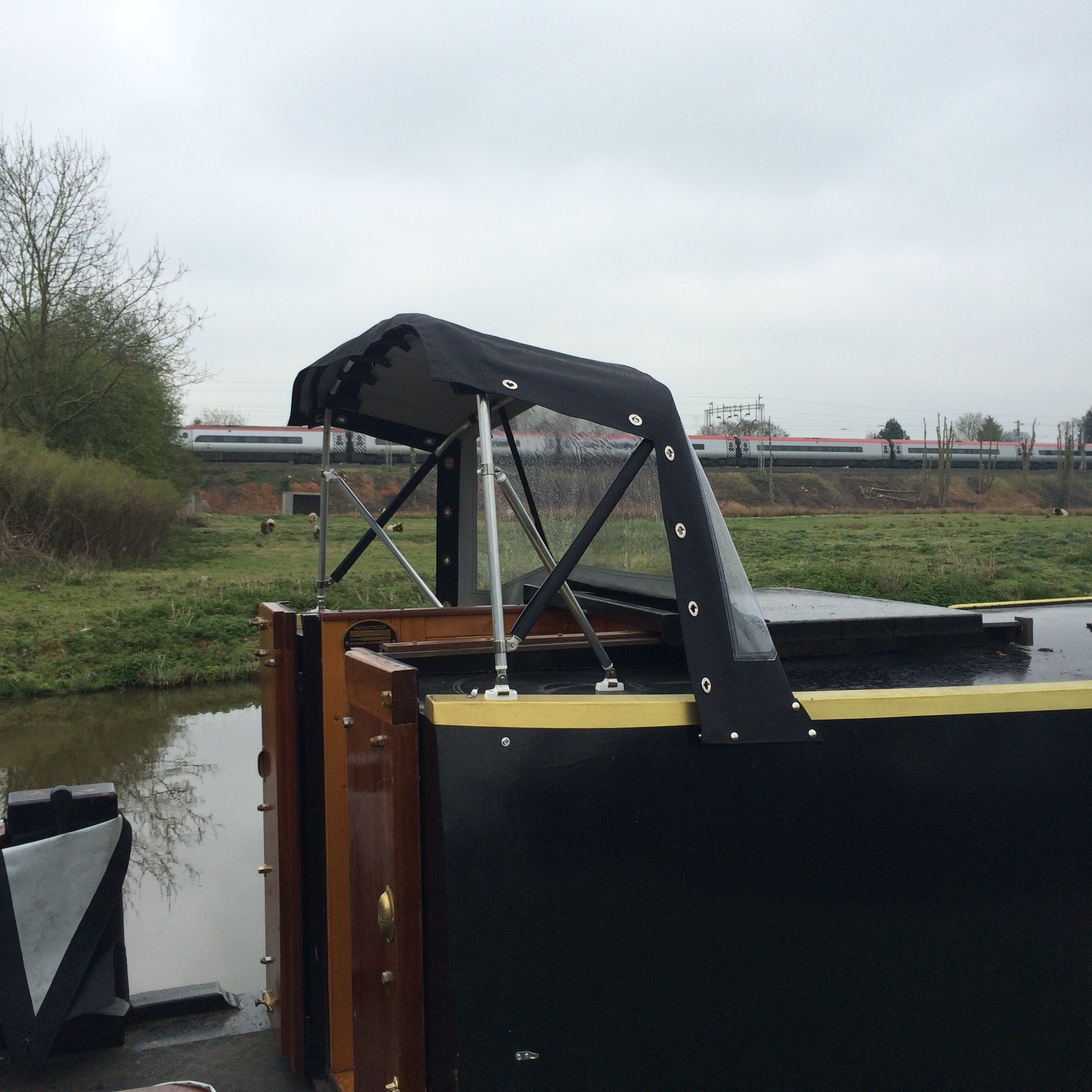 Kinver canopies narrowboat pram cover split