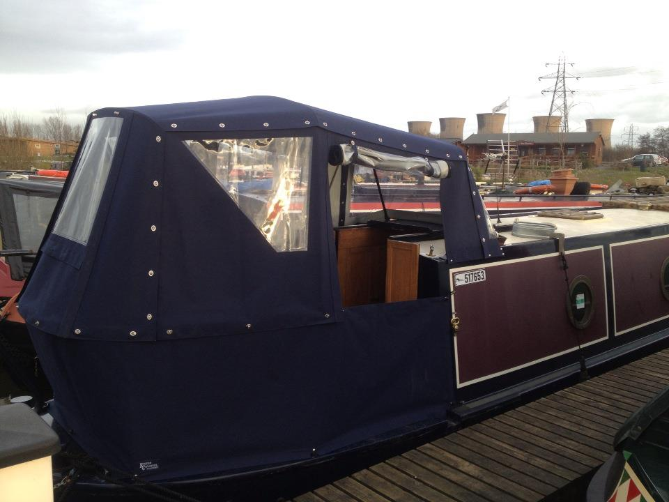Narrowboat Pram Doors open and dodger closed & Customised narrowboat and wide beam covers in the UK