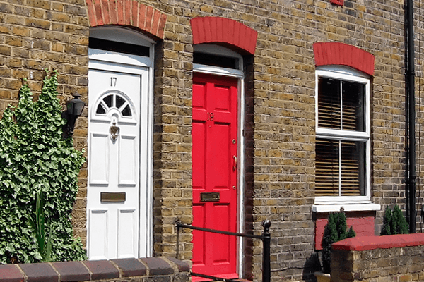 Red and white composite doors