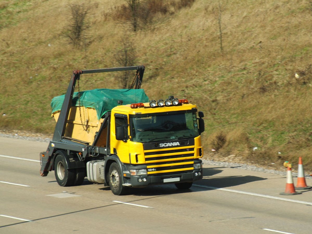 Skip lorry with a full load