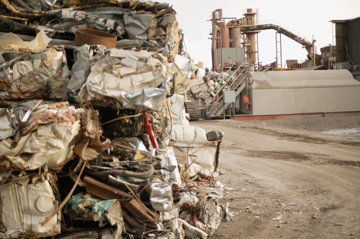 Compacted waste stacked up