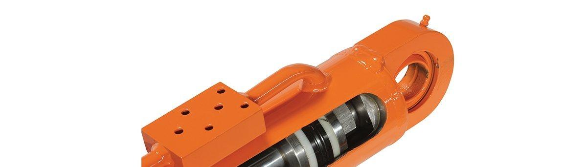 Orange hydraulic cylinder