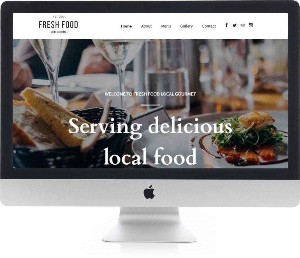 Restaurant website design on iMac
