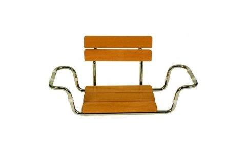 Sedile in legno con schienale per vasca