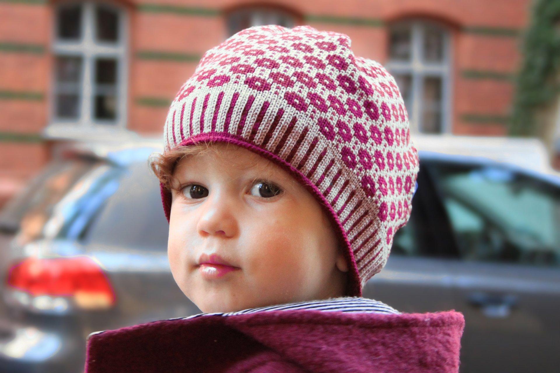 gestrickte Mütze aus Merionowolle für Kleinkinder, Kinder und Damen