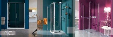 Tre modelli di doccia, doppia porta, quadrata e con forma arrotondata