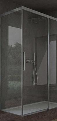 Box doccia in cristallo e acciaio con porta scorrevole