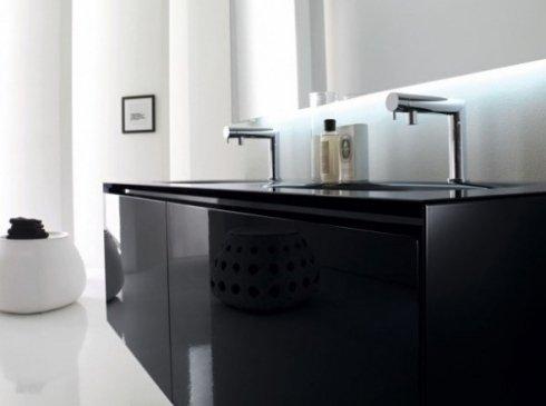 Mobile nero con doppio lavandino