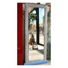 specchio in cristallo con culla cornice in vetro smaltato