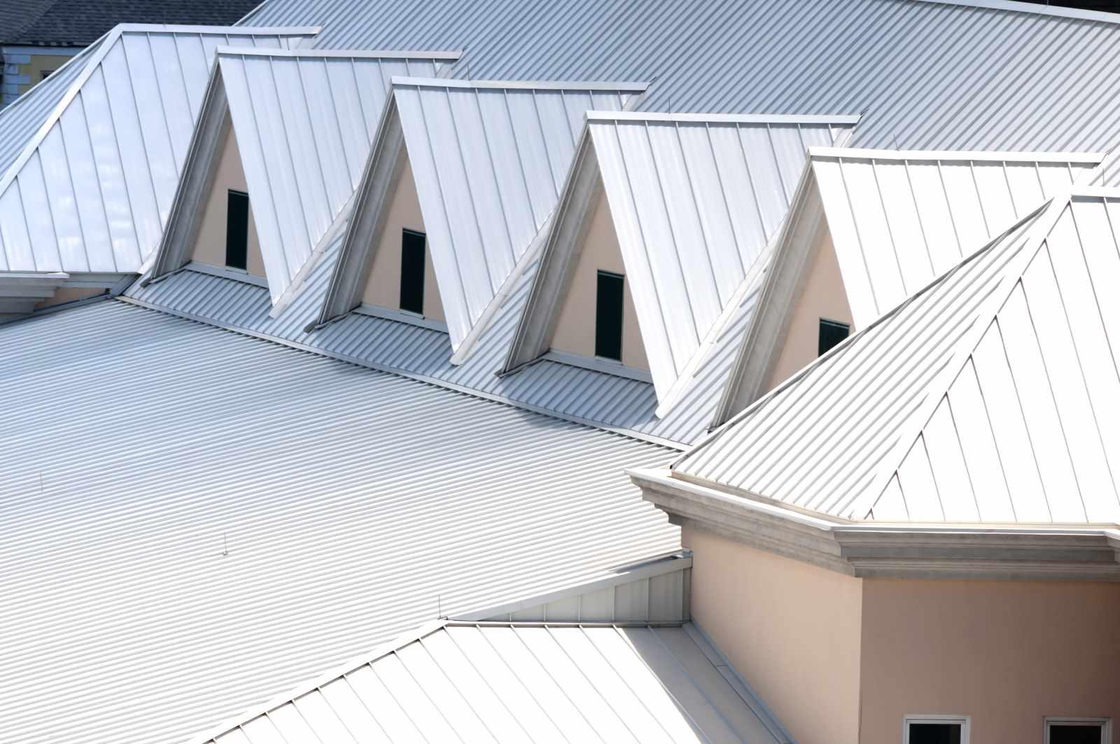 Unique white triangular shaped aluminum metal roof