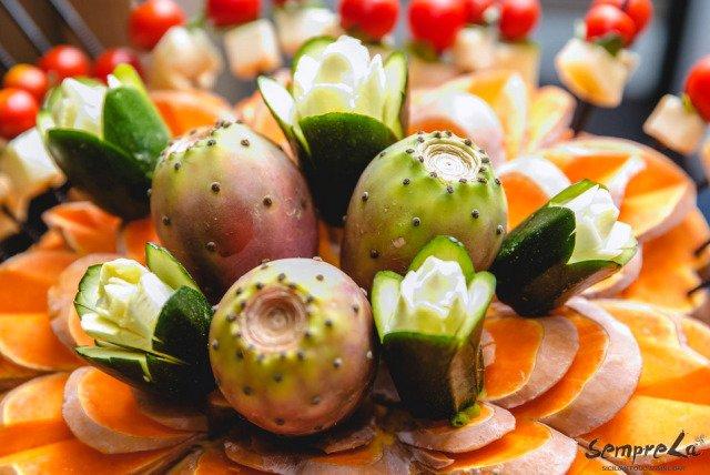 presentazione di frutta e verdura