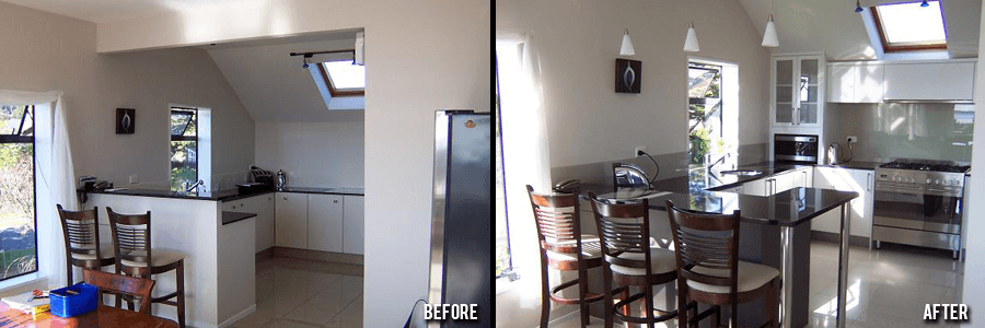 Before and after of kitchen remodelling in the Bay of Plenty