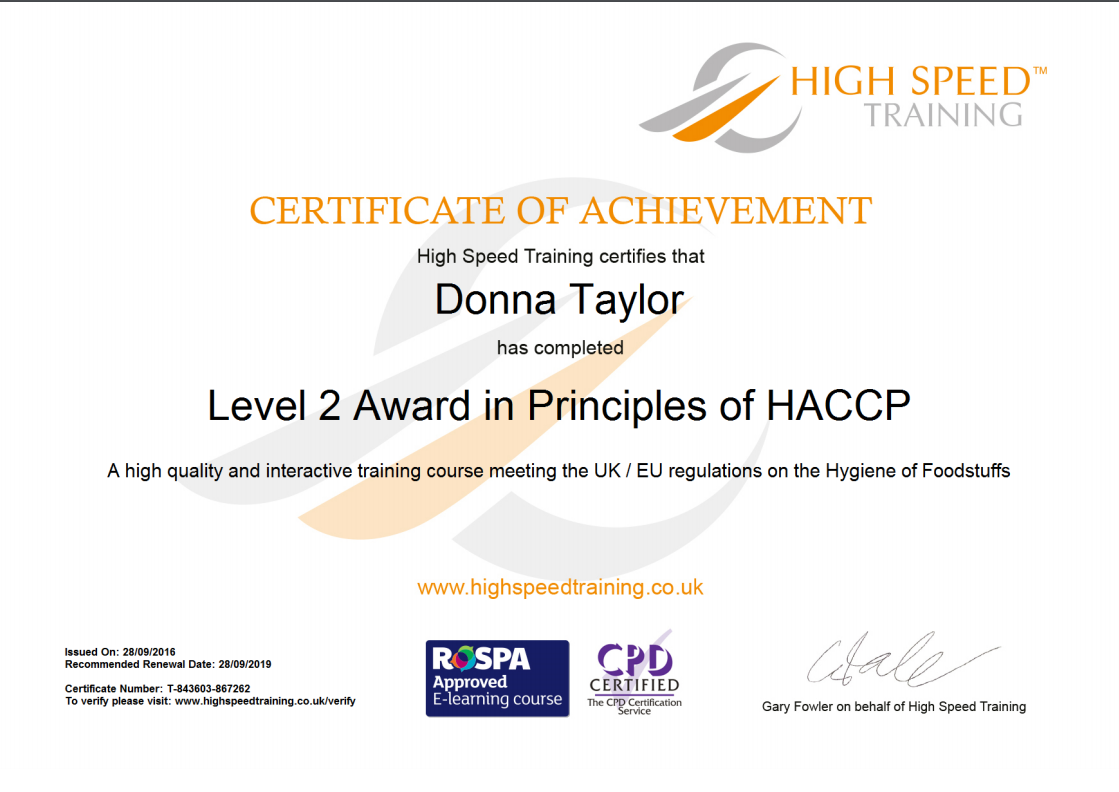 certificate of achievement donna taylor level 2 award in principles of HACCP