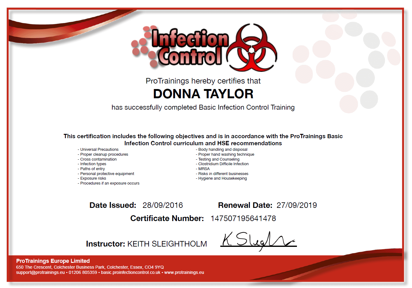 basic infection control non medical certificate