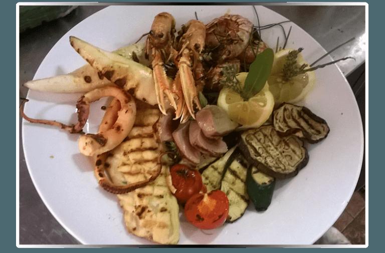 verdure e pesce alla griglia