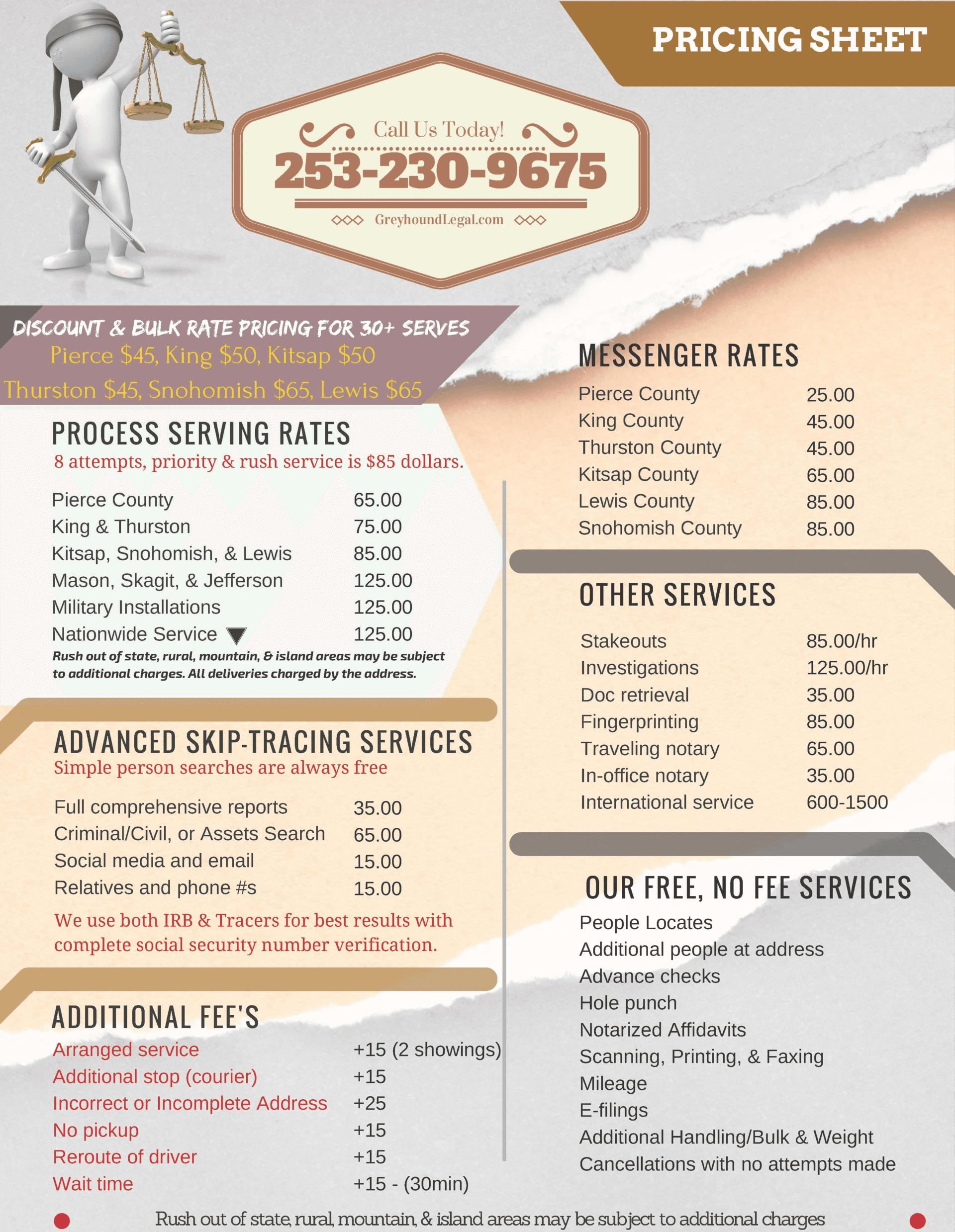 Process Serving Price Sheet (GreyhoundLeagal.com