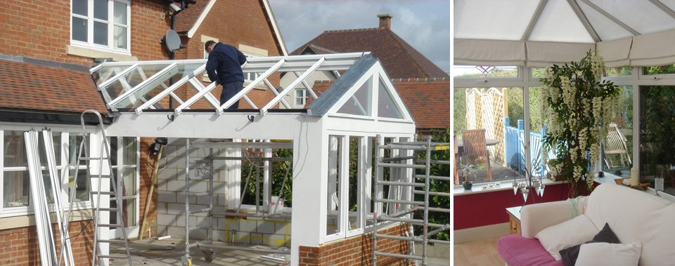 conservatory glass installation