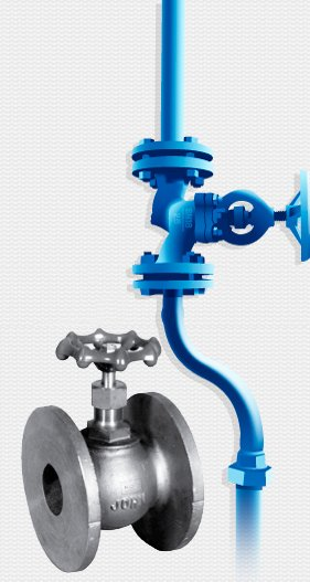 globe valve in front of blue piping