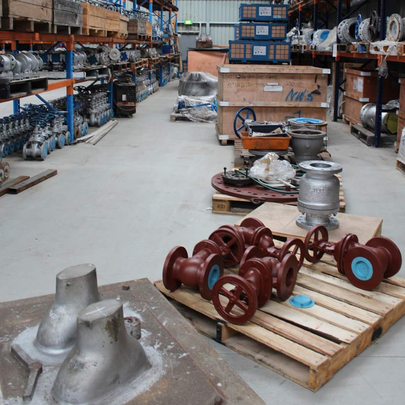 valve products on pallets