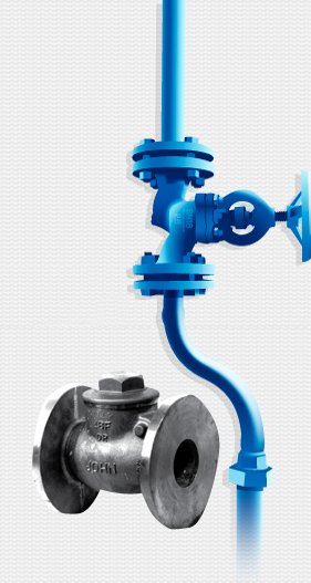 silver valve in front of blue piping