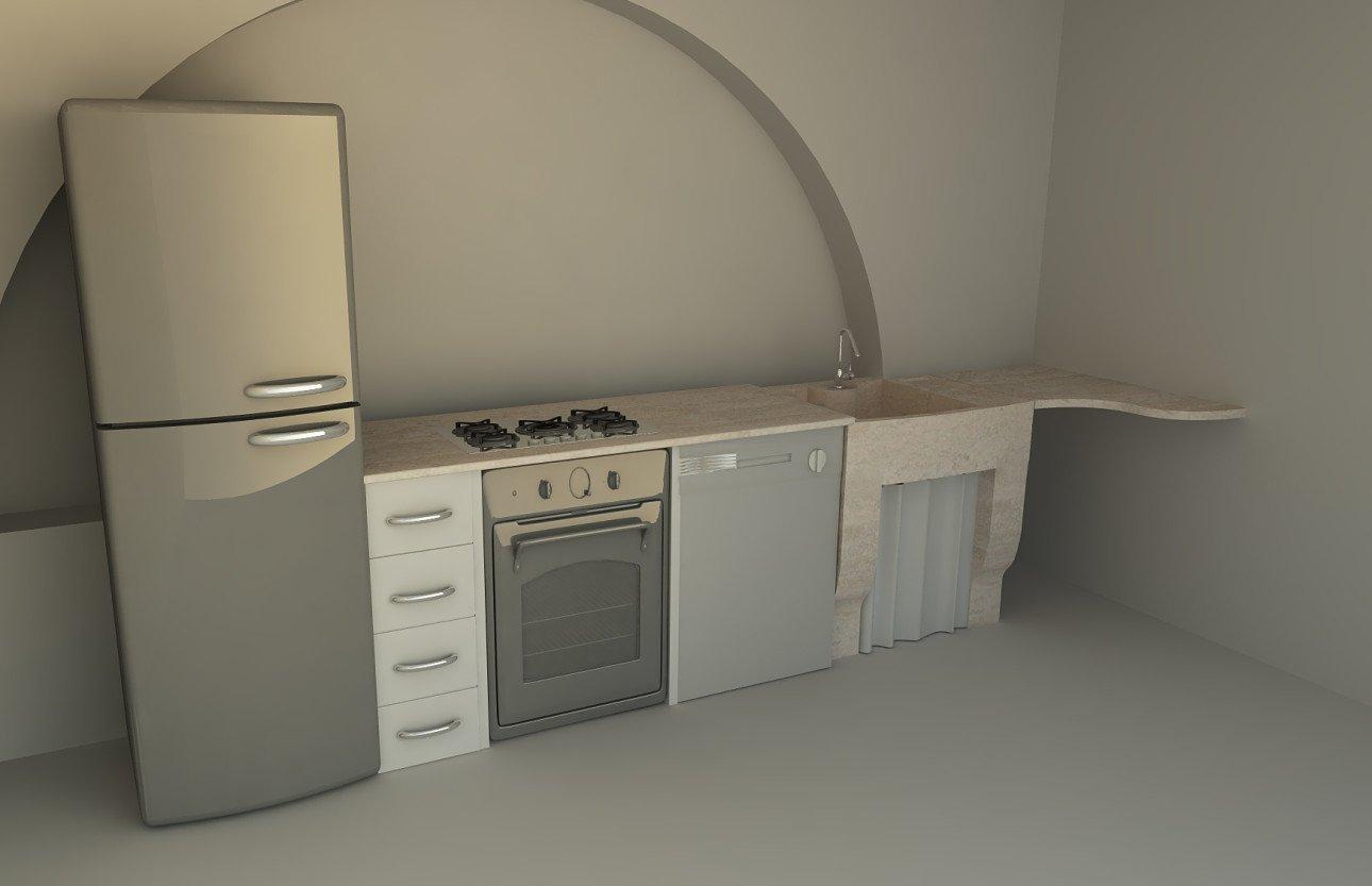 Cucina in marmo con elettrodomestici