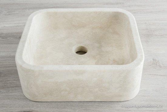 Lavabo quadrato in marmo