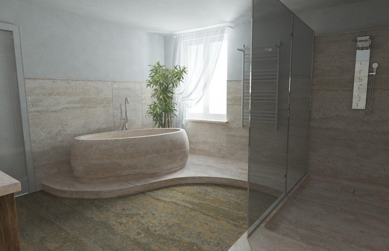 bagno con vasca in marmo, pianta e pavimento in marmo e laminato