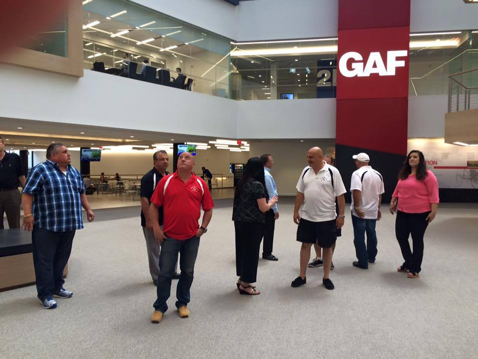 King Quality Construction employees take a look around GAF headquarters.