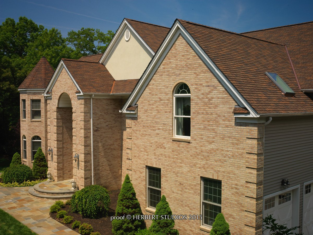 High angle photo of home with Glenwood Lifetime Designer Shingles, installed by King Quality Construction