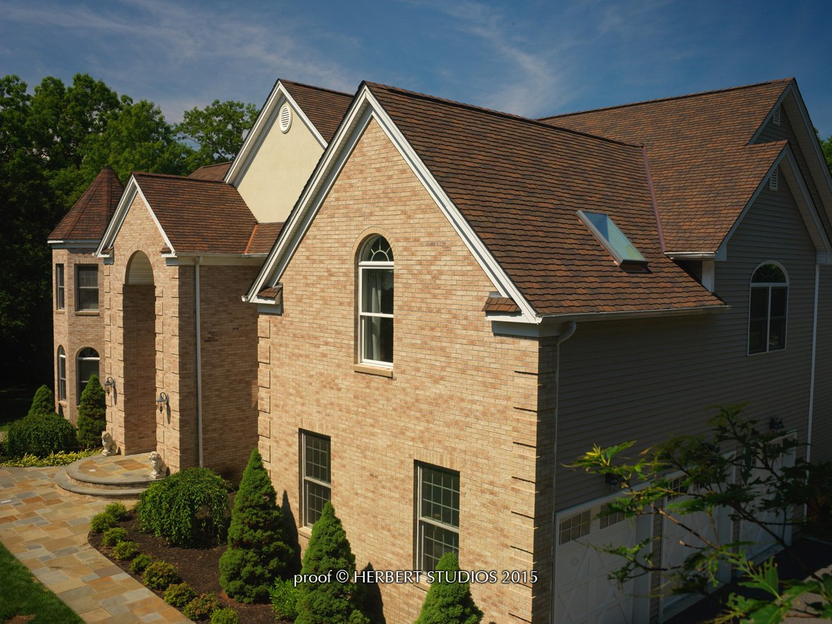 Roof of home with GAF Ultra-Premium Lifetime Designer Shingles, installed by King Quality Construction