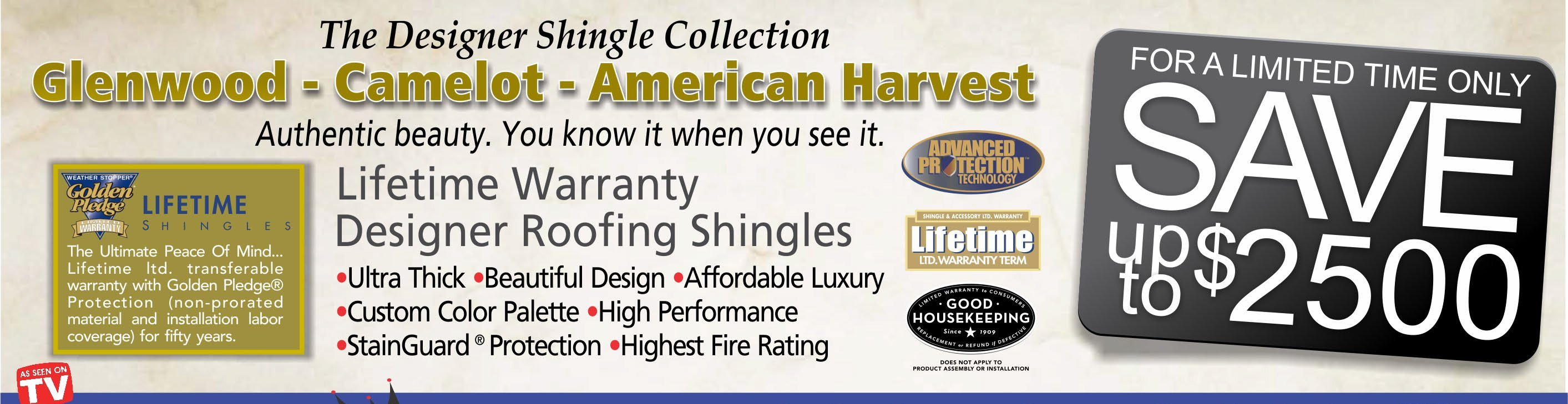 Save up to $2500 on designer roofing shingles at King Quality Construction - Click for details.