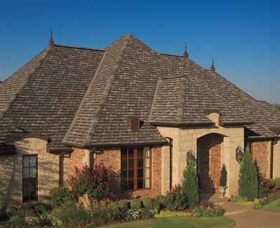High angle view of home with Camelot Lifetime Designer Shingles, installed by King Quality Construction