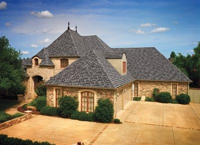 Roof of home with Camelot Lifetime Designer Shingles, installed by King Quality Construction