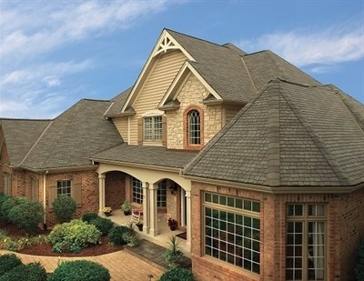 High angle view of home with Glenwood Lifetime Designer Shingles, installed by King Quality Construction