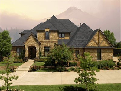 View from front of house with Timberline Ultra HD shingles, installed by King Quality Construction.