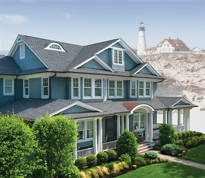 Aerial view of large home with Timberline Ultra HD shingles installed by King Quality Construction