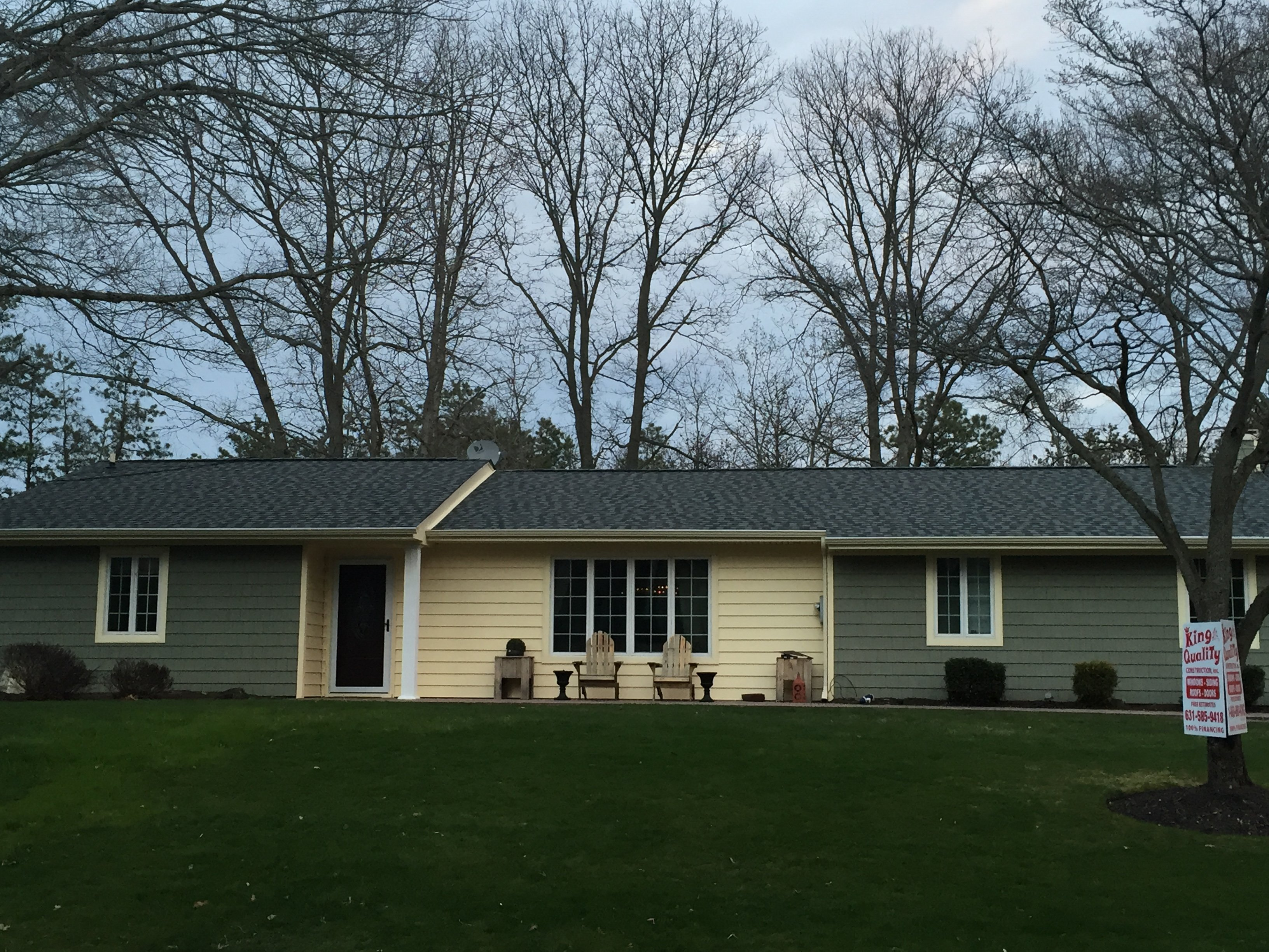 Completed siding project by King Quality Construction