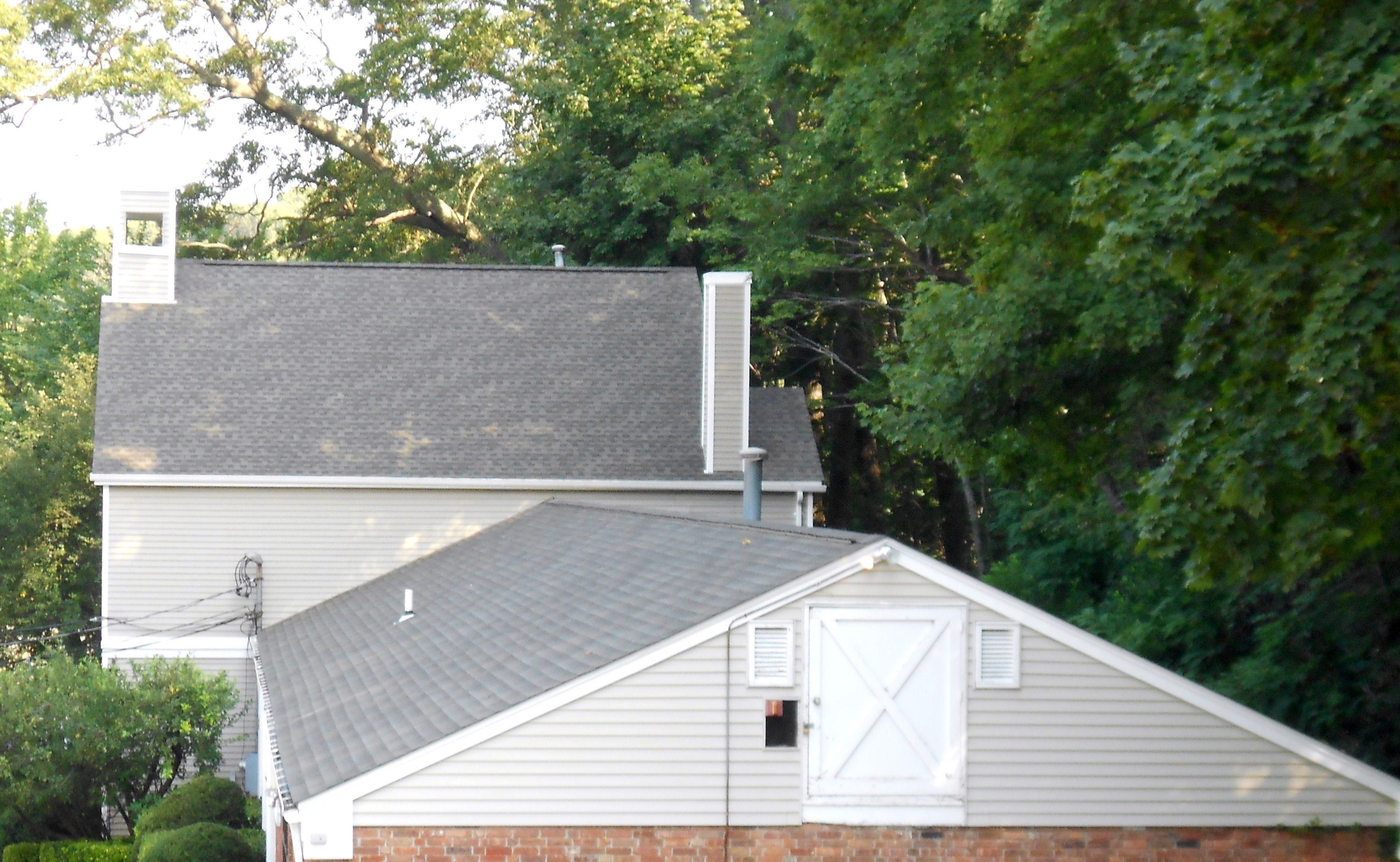 Overhead shot of roof installed by King Quality Construction