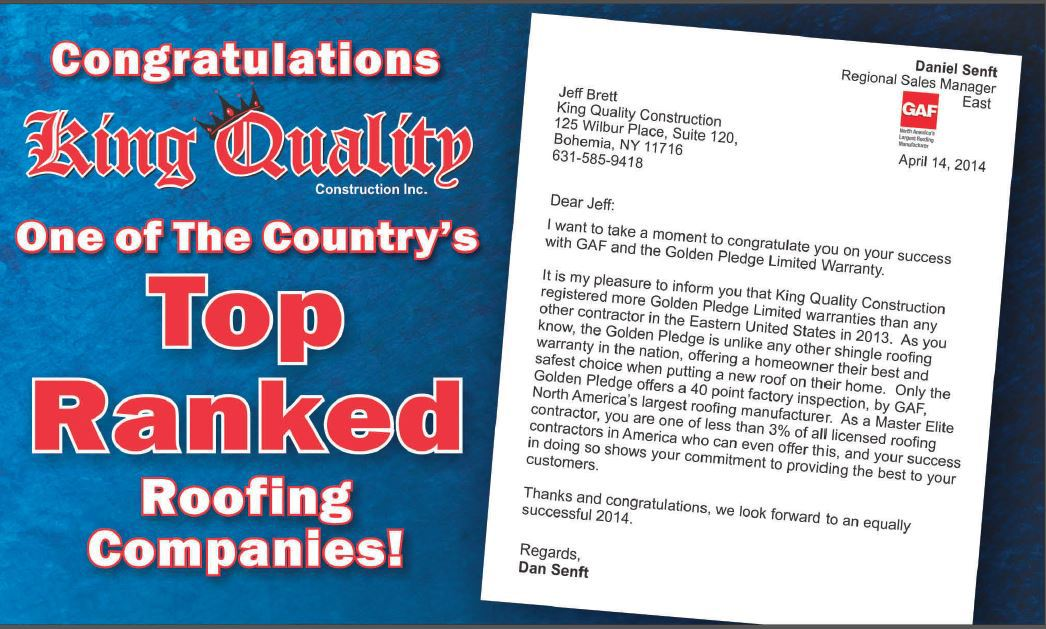 King Quality Construction is one of the country's top rated roofing companies.
