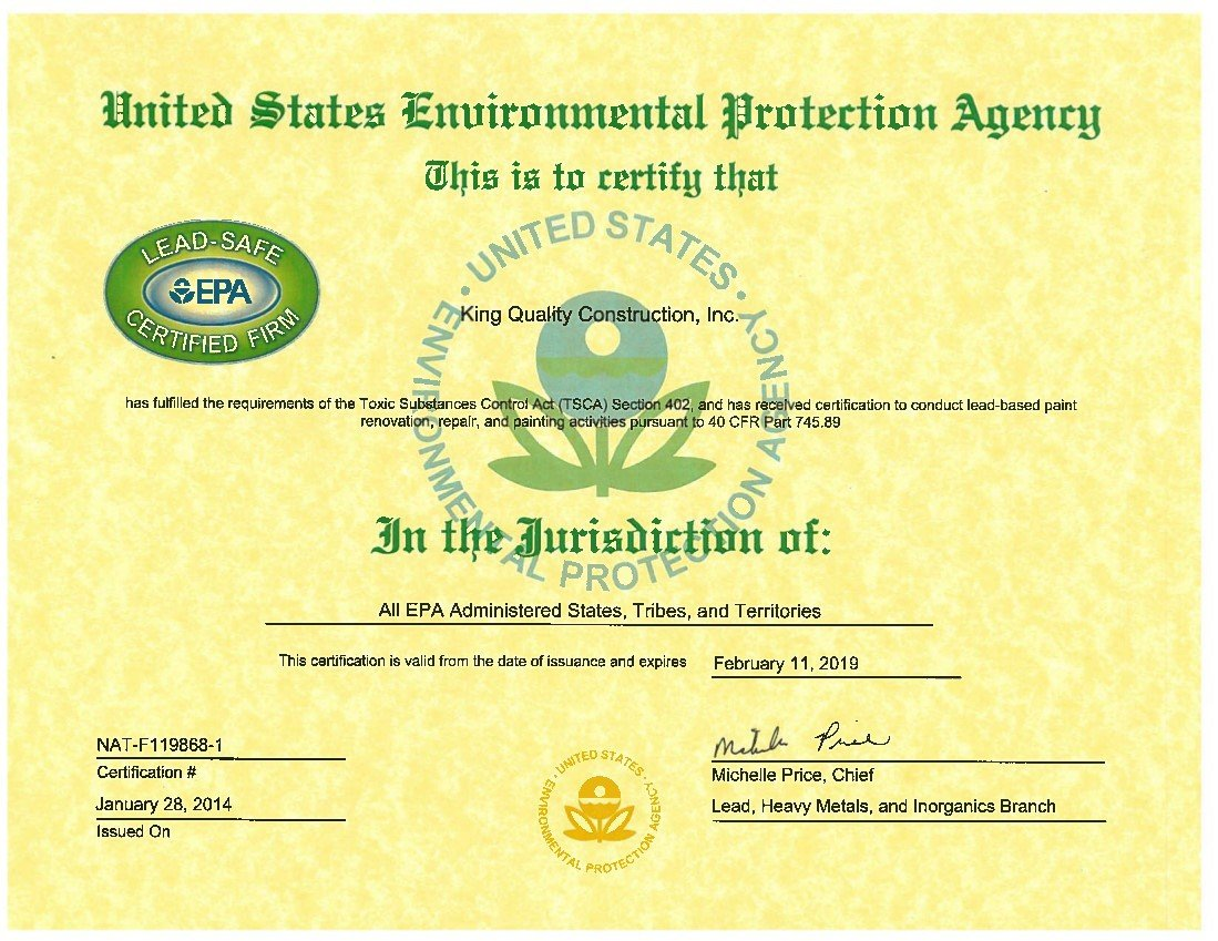 EPA lead-safe certification for King Quality Construction.