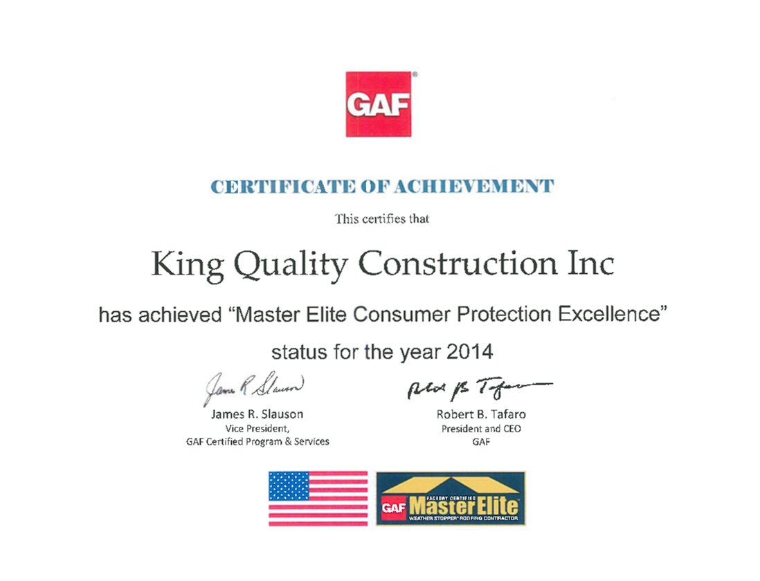GAF master elite consumer protection excellence for King Quality Construction