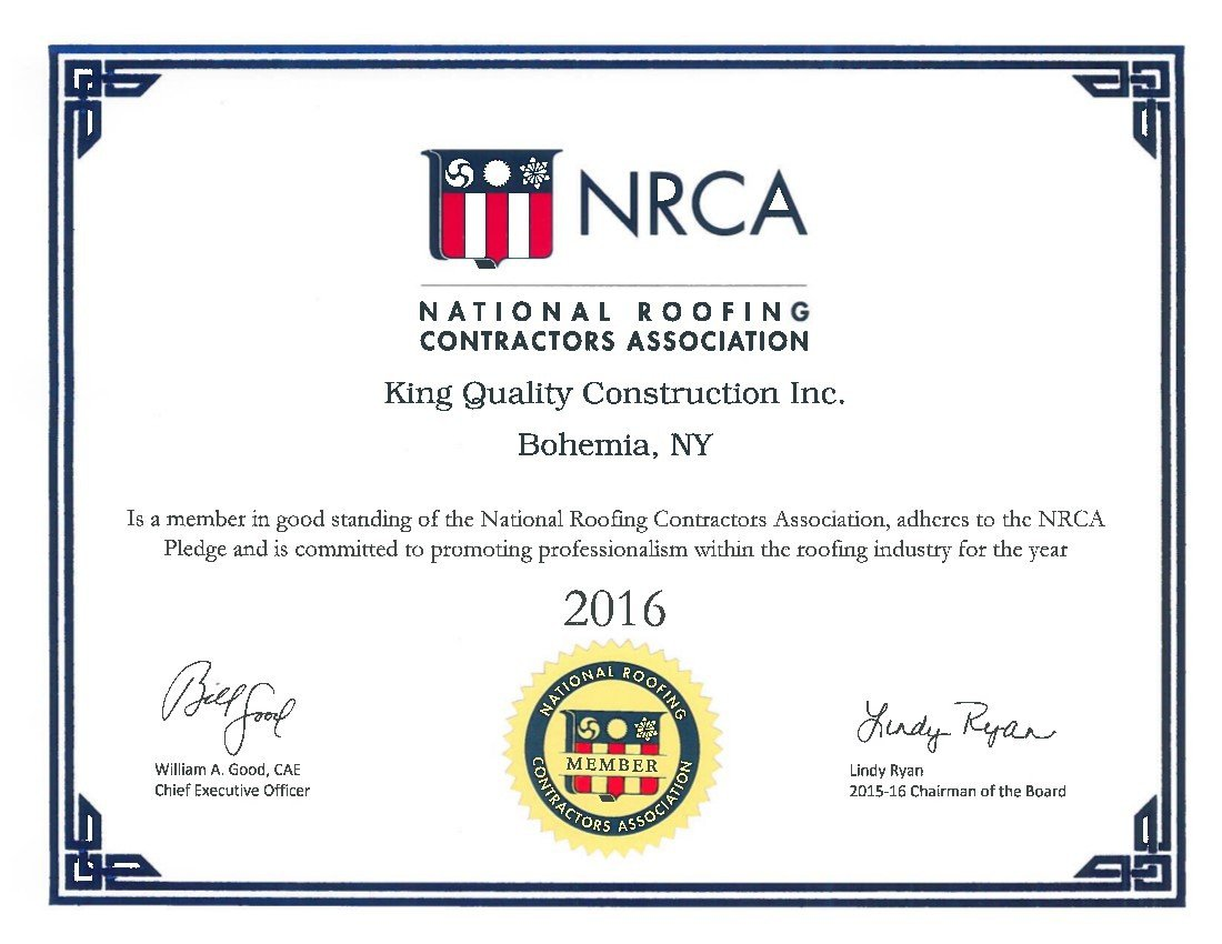 King Quality Construction's NRCA membership certificate