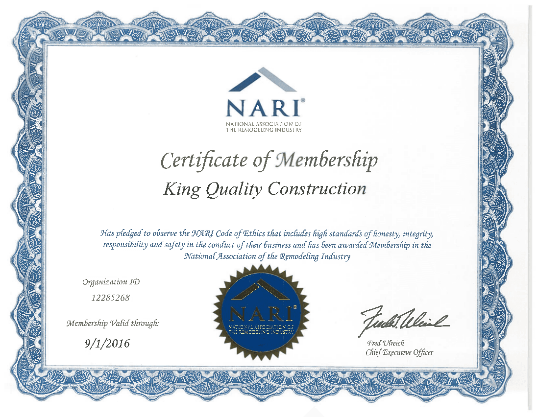 King Quality Construction's NARI certificate of membership
