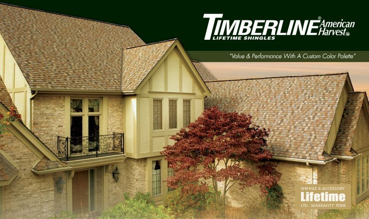 King Quality Construction installs Timberline American Harvest shingles.