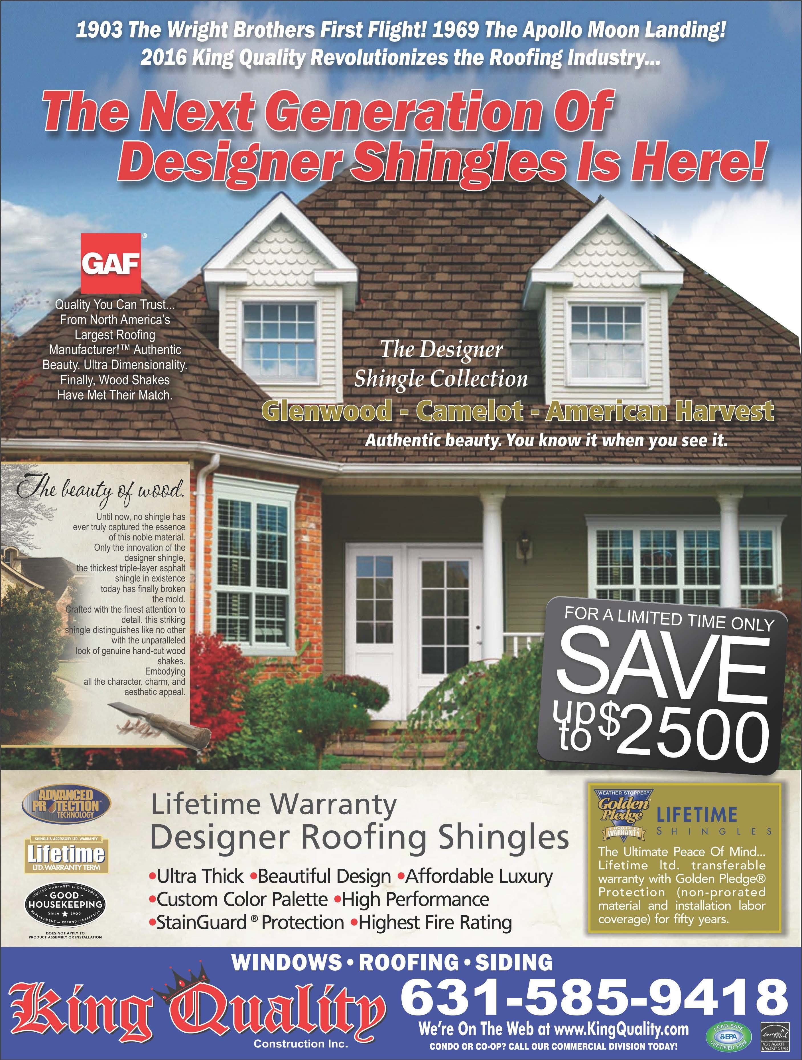 Save up to $2500 on designer shingles installed by King Quality Construction