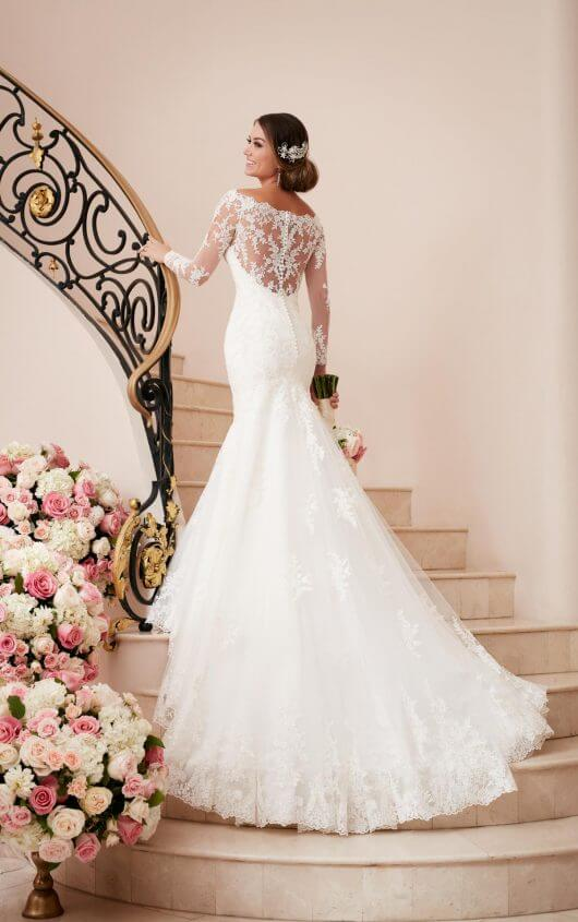 5c2f7cac6a Long Sleeve Wedding Gown With Illusion lace Back, back view