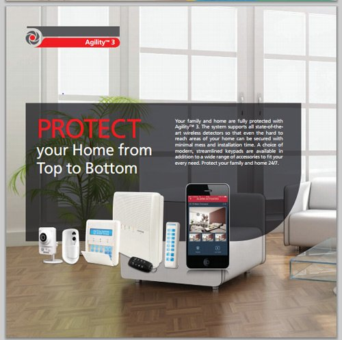 vista interna di negozio scritto un carta PROTECT YOUR HOME FROM TOP TO BOTTOM