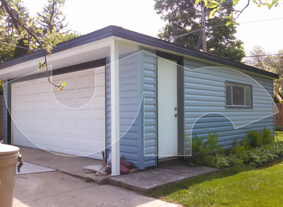 Downers Grove Wedgewood Blue Siding on Garage