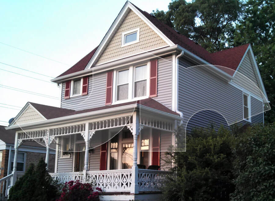Franklin Park Victorian Grey Vinyl Siding with Fishscale Accent