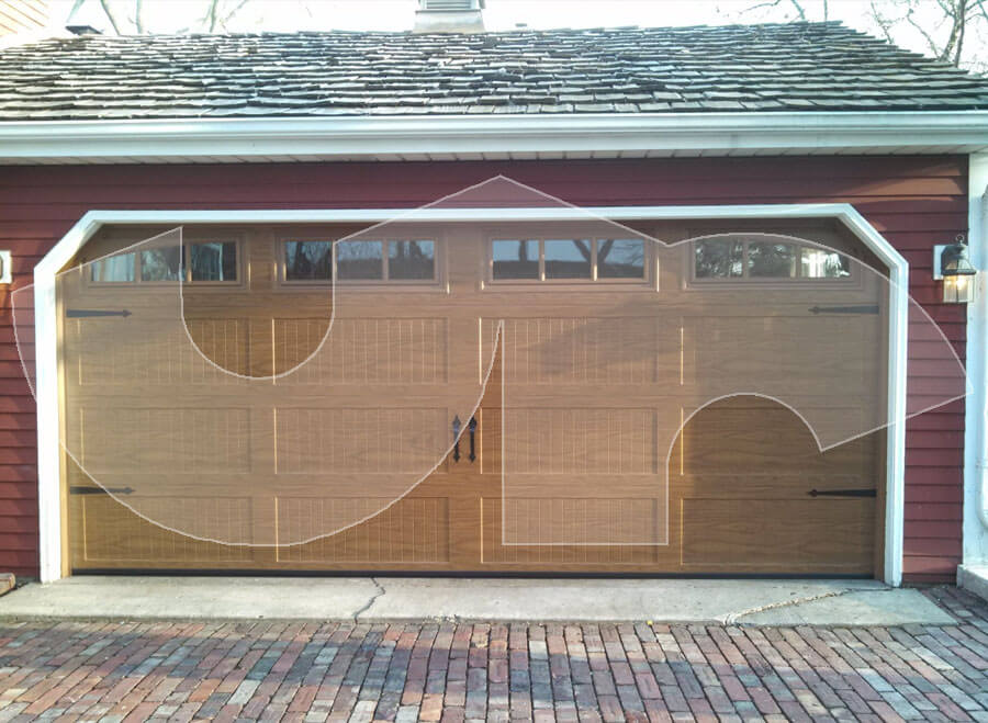 Glen Ellyn Oak Steel Carriage Style Garage Door